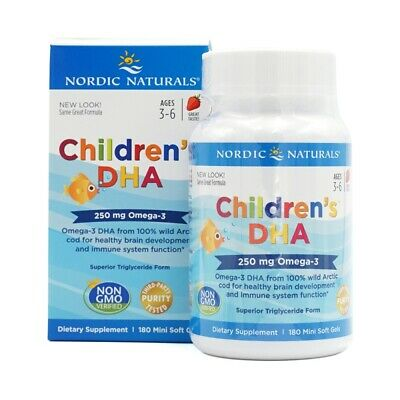 Nordic Naturals Children's DHA 250 mg Strawberry, 180 SoftGels