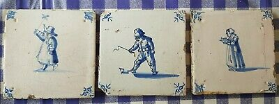 THREE 17th century Delft blue and white tiles