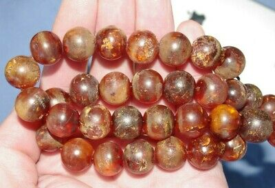Fine Old Antique Chinese Carved Genuine Baltic Amber Necklace - 49.5 Grammes