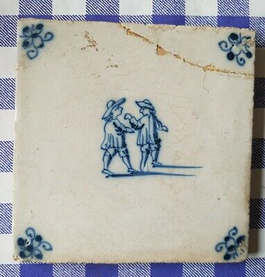 17th or early 18th century Delft blue and white tile: children boxing