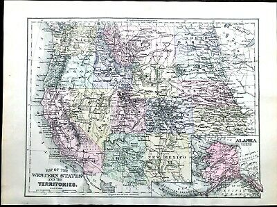 1895 Antique MITCHELL Color Map of US Western States & Territories