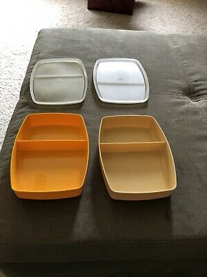2 Preowned TUPPERWARE PACKETTE DIVIDED SMALL CONTAINERS 813 WITH LIDS