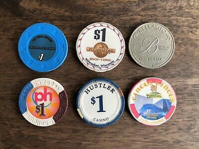 Lot of 6 $1.00 (5) Las Vegas and (1) Milwaukee Casino Chips / Tokens