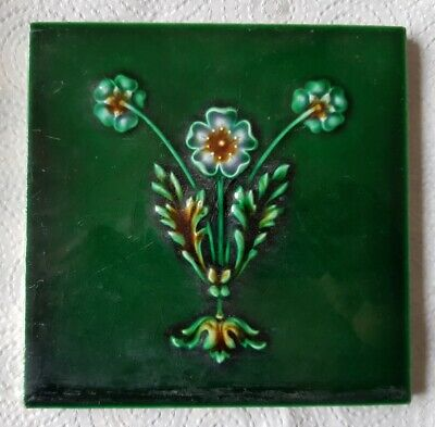 Antique original Victorian or Edwardian AM Ltd. Art Nouveau  tile