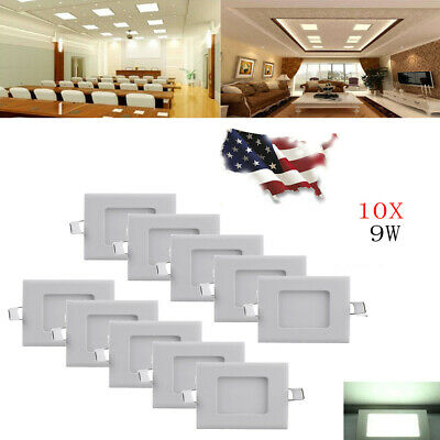 10X 9W Cool White LED Recessed Ceiling Panel Down Light Lamp Fixture-Round+J-BOX