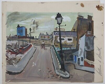 William A. Smith 1950s mid-century mod painting Parisian Paris cityscape France