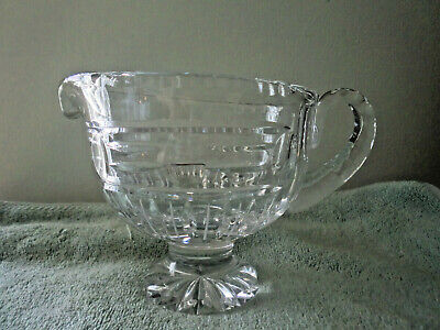 Large Heavy Clear Pressed Glass Sauce Or Gravy Pitcher