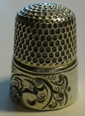 Antique sterling silver thimble --Beautiful