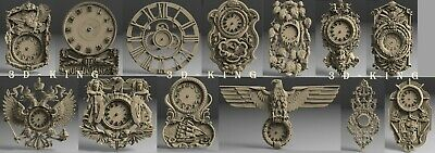 13 PCS STL 3D Models # WALL CLOCKS SET10 # for CNC 3d Printer Engraver Carving