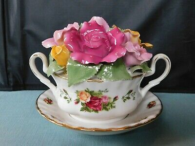 "Royal Albert Old Country Roses ""Cup of Soup"" Music Box Doulton in Original Box"