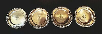 4 Antique Gorham LANCASTER Sterling Silver Butter Pats Rosebuds & Beaded Edge