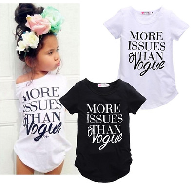 Brand New Summer Spring Girls 'More Issues Than Vogue' Tshirt Top Clothing