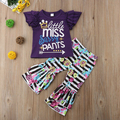 Brand New Girls Kids 'Little Miss Sassy Pants' Tshirt Flares Pants Outfit