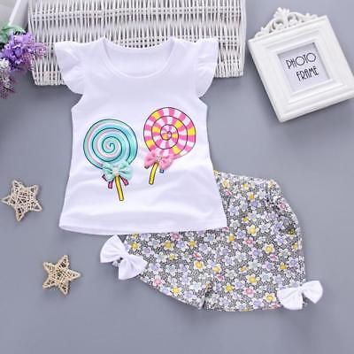 Brand New Kids Girls Lolly Pop Summer Outfit Tshirt Shorts Candy Sweets