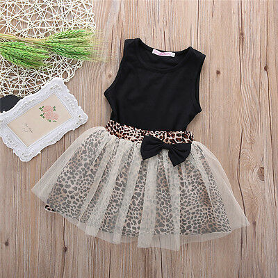 Brand New Baby Girls Clothing Summer Lace Leopard Skirt & Black Top FREE POSTAGE