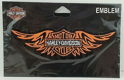 """Orange Bar & Shield With Wings Sew On Patch 5.75"""" Harley Davidson Licensed New"""