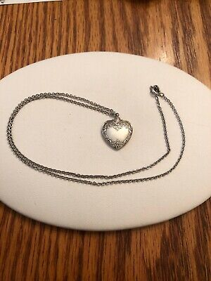 """Heart Pendant  Grande Baroque (Sterling,1941) by Wallace Silver 18"""" Sterling Cha"""