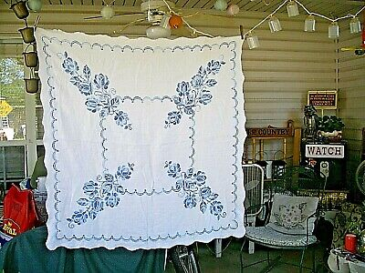 Beautiful Vintage Cross-Stitch Tablecloth Blue Floral Scalloped 44 x 48