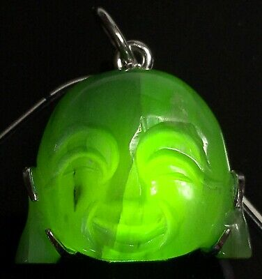 OLD ANTIQUE 8.2gm NATURAL EMERALD GREEN JADEITE JADE 'A' MAITREYA BUDDHA PENDANT