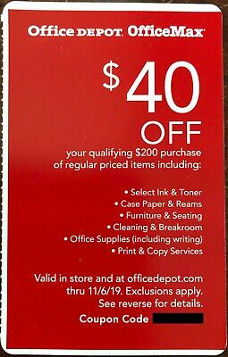 $40 Off $200 Purchase at OFFICE DEPOT / OFFICE MAX Coupon (exp. 11/6/19)