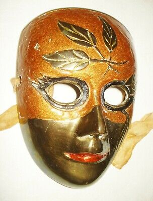 Vintage Enamel Solid Brass Mask Nice Colorful Design Nr