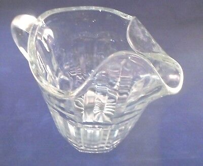 "Glass Water Pitcher with Ice Blocker 7.5"" Tall Vintage"