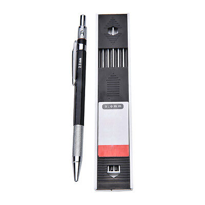 2mm 2B-Lead Holder Automatic Mechanical Drawing Drafting Pencil 12 Leads Refill!