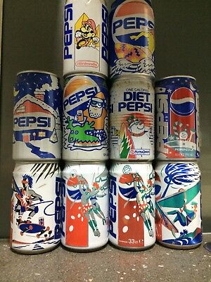10 Pepsi Cola Collector Cans