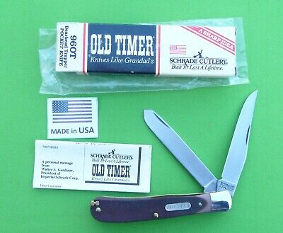 "Schrade USA made ""96OT"" Old Timer ""Bearhead Trapper"" Knife-MIB"