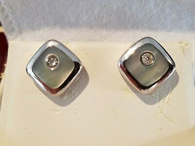 Mother Of Pearl Square Shaped Diamond Stud 14K White Gold Fine Jewelry Earrings