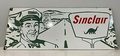 Vintage Sinclair Gasoline Porcelain Sign Gas Station Pump Plate Oil Route 66
