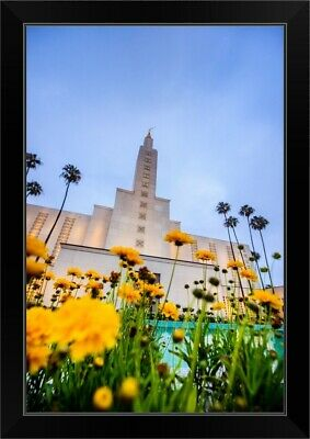 """""""Los Angeles California Temple with Flowers, Los Angeles, California"""" Black F"""