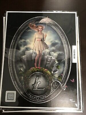 1 LTC Litecoin SILVER MYSTIC Crypto Currency Art Wallet 8.5x11