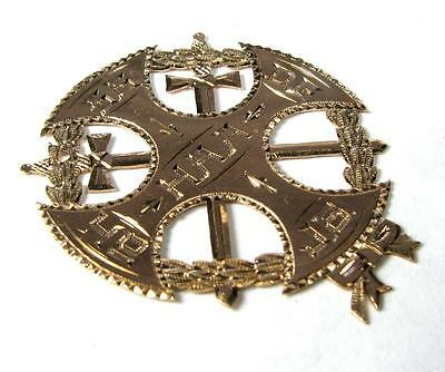LARGE ANTIQUE CROSS SWORDS MASONIC PENDANT MASON MEDAL 14K Yellow Gold