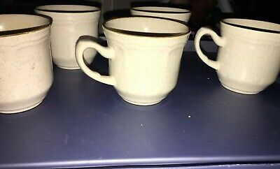 5 Baroque Hearthside Vintage Stoneware Coffee Mugs Cups Set Of 5 made in Japan