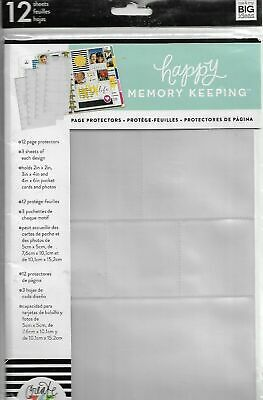 Happy Memory Keeping Big Page Protectors-12 Pre-Punched Sheets, 4 Designs/3 Each