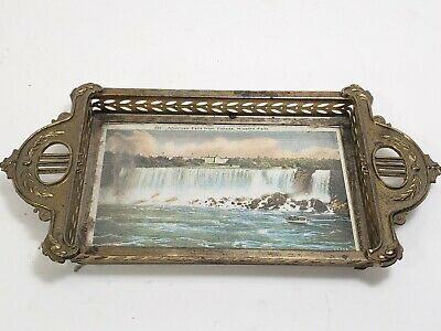 Stunning antique German ART NOUVEAU picture PHOTO FRAME dull gold Tray