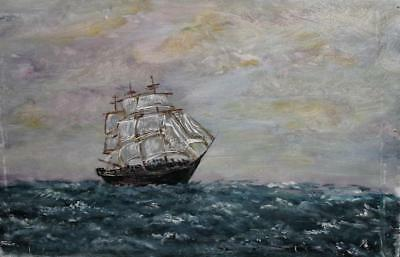 Vintage Impressionist Seascape Ship Oil Painting