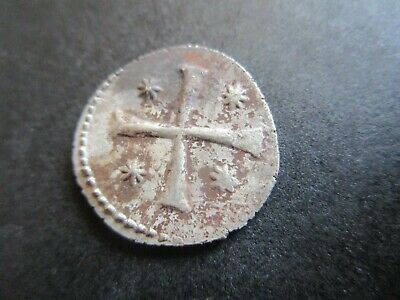 Byzantine Silver coin.Monogram/Cross with 4 star