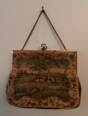 Vintage Tapestry Bag with Rural Scene with Gold trim, clasp and chain.