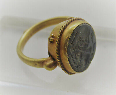 Scarce Ancient Roman High Carat Gold Ring With Agate Intaglio Emperor Depicted