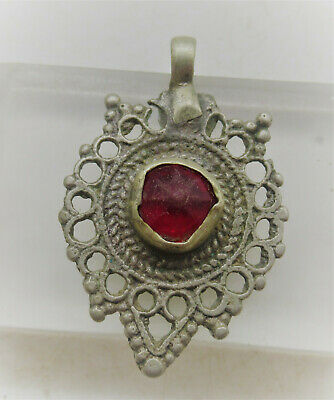 Beautiful Late Medieval Islamic Silvered Pendant With Red Stone Insert