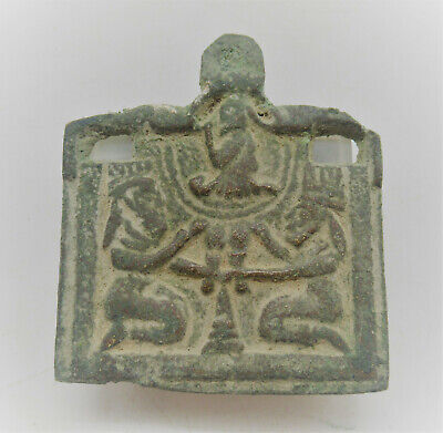 Unresearched Ancient Near Eastern Bronze Pendant With Two Worshippers