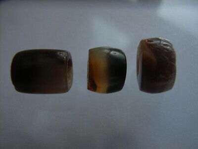 3 Ancient Neolithic Agate Beads, Stone Age, RARE ! TOP!
