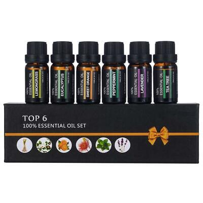 6PCS/SET 10ML Essential Oils Organic 100% Pure Natural Therapeutic Aromatherapy