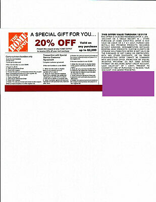 1 20% OFF HOME DEPOT competitors Coupon to use at Lowe's expires 12/31/19