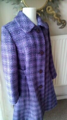Vintage 1960s Purple and Mauve Dogtooth Check Pattern Coat Mod Gogo Medium