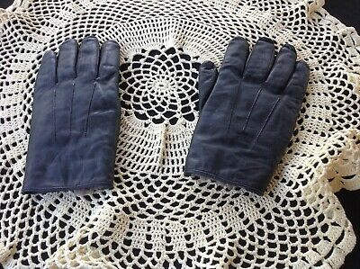 LADIES VINTAGE gloves - black leather with fur lining