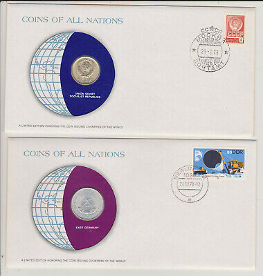 1978 Coins of All Nations Covers - USSR 20 Kopeck and DDR 1 Mark - Scarce