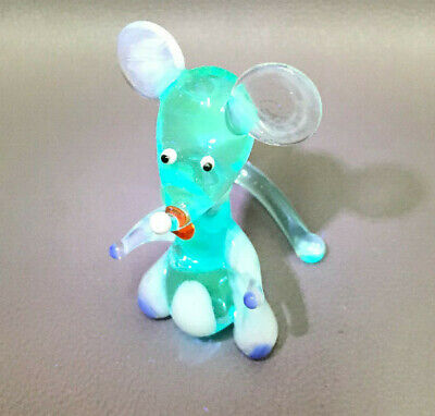 Italian Murano Blue Art Blue Vaseline Glass Mouse Animal Figurine Figure